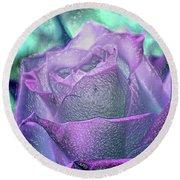 Round Beach Towel featuring the photograph Carved Rose by Lance Sheridan-Peel