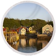 Carvers Harbor At Sunset, Vinahaven, Maine Round Beach Towel