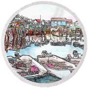 Carvers Harbour With Boats , Vinal Haven,  Maine Round Beach Towel