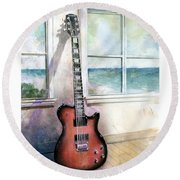 Round Beach Towel featuring the painting Carvin Electric Guitar by Andrew King