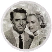 Cary Grant And Grace Kelly, Hollywood Legends Round Beach Towel