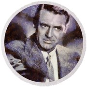 Cary Grant Hollywood Actor Round Beach Towel by Esoterica Art Agency