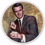 Cary Grant - Square Version Round Beach Towel by John Robert Beck
