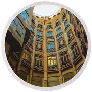Round Beach Towel featuring the photograph Casa Mila - Barcelona by Colleen Kammerer