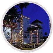 Casa Monica Inn Night Of Lights Round Beach Towel