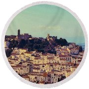 Casares Espana In Golden Light Circa 1972 Round Beach Towel
