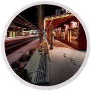 Round Beach Towel featuring the photograph Cascade Avenue by Cat Connor