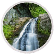 Round Beach Towel featuring the photograph Cascade Falls In South Portland In Maine by Ranjay Mitra
