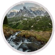 Cascade In The Alps Round Beach Towel