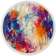 Round Beach Towel featuring the painting Cascade Into The Oceans by Tracy Bonin