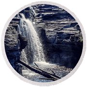 Round Beach Towel featuring the photograph Cascade by Kendall McKernon
