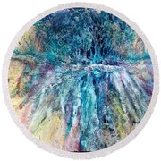 Round Beach Towel featuring the painting Cascade Ridge by Carolyn Rosenberger