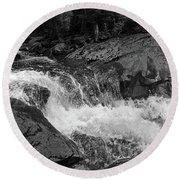 Round Beach Towel featuring the photograph Cascade Stream Gorge, Rangeley, Maine  -70756-70771-pano-bw by John Bald