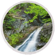 Round Beach Towel featuring the photograph Cascade Waterfalls In South Maine by Ranjay Mitra