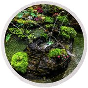 Round Beach Towel featuring the photograph Cascades Fountains by Onyonet  Photo Studios