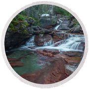 Round Beach Towel featuring the photograph Cascades by Gary Lengyel