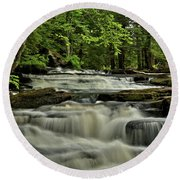 Cascades In The Rain Round Beach Towel