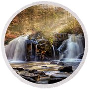 Round Beach Towel featuring the photograph Cascades Of Light by Debra and Dave Vanderlaan