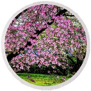 Cascading Dogwood Copyright Mary Lee Parker 17, Round Beach Towel by MaryLee Parker