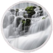 Cascading Mirror Lake Falls Round Beach Towel
