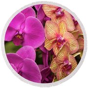 Round Beach Towel featuring the photograph Cascading Orchids by Penny Lisowski
