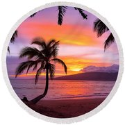 Cascading Palms Round Beach Towel by James Roemmling