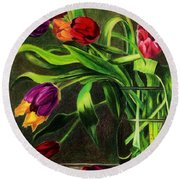 Round Beach Towel featuring the painting Cascading Tulips by Patti Ferron