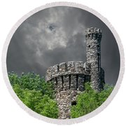 Round Beach Towel featuring the photograph Casco Castle by Guy Whiteley