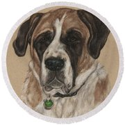 Round Beach Towel featuring the drawing Casey  by Meagan  Visser