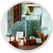 Round Beach Towel featuring the photograph Cash Register In General Store by Susan Savad