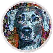 Cash The Blue Lacy Dog Round Beach Towel