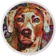 Cash The Lacy Dog Round Beach Towel