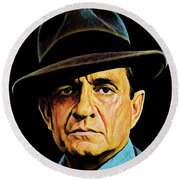 Cash With Hat Round Beach Towel