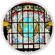 Casino Stained Glass Round Beach Towel by Sarah Loft