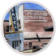 Casper Wyoming Movie Theater Round Beach Towel by R Kyllo