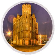 Cass Castle Detroit Mi Round Beach Towel by Nicholas  Grunas