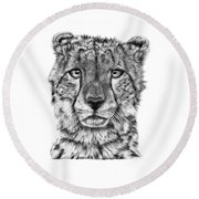 Cassandra The Cheetah Round Beach Towel