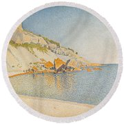 Round Beach Towel featuring the painting Cassis. Cap Lombard. Opus 196 by Paul Signac