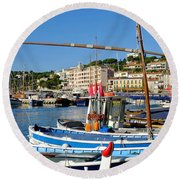 Cassis Harbor Round Beach Towel