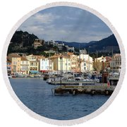 Cassis Town And Harbor Round Beach Towel