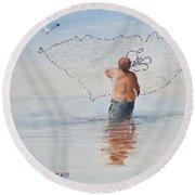 Cast Net Fishing Round Beach Towel