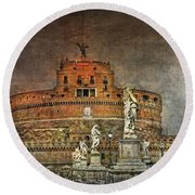 Round Beach Towel featuring the photograph Castel Sant Angelo Fine Art by Hanny Heim