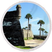 Castillo De San Marcos St Augustine Florida Round Beach Towel by Bill Holkham