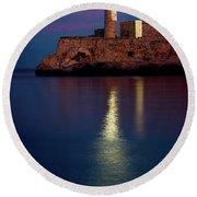 Castillo Del Morro Lighthouse Havana Cuba Round Beach Towel