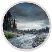 Casting To Cutthroat On A Cold Mountain Stream Round Beach Towel