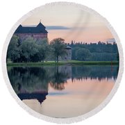 Castle After The Sunset Round Beach Towel