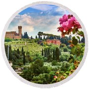 Roses And Castle On Green Tuscan Landscape In Florence, Italy Round Beach Towel