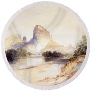 Castle Butte, Green River, Wyoming Round Beach Towel