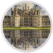 Round Beach Towel featuring the photograph Castle Chambord by Heiko Koehrer-Wagner