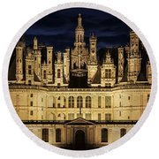 Round Beach Towel featuring the photograph Castle Chambord Illuminated by Heiko Koehrer-Wagner